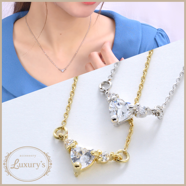 Luxury's gold silver shiningly small-sized necklace heart cubic zirconia