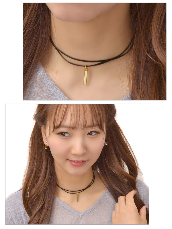 Choker necklace fake leather two metal stick gold