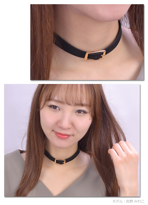 Choker necklace belt design Shin pull metal gold silver