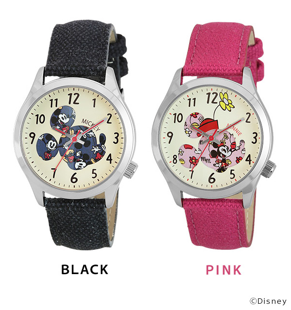 Disney Disney watch Mickey Minnie fabric belt casual watch WD-B04