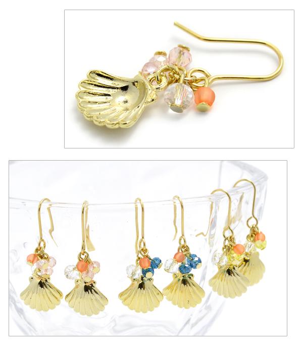 Pierced earrings shell shell beads sea ゴールドサマーアクセシーアクセシーモチーフマリン