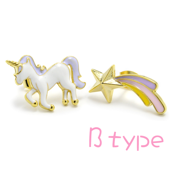 Pierced earrings unicorn shooting star star fairy tale asymmetric pastel ゆめかわ