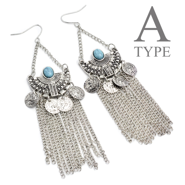 Pierced earrings ethnic motif overswinging swing silver
