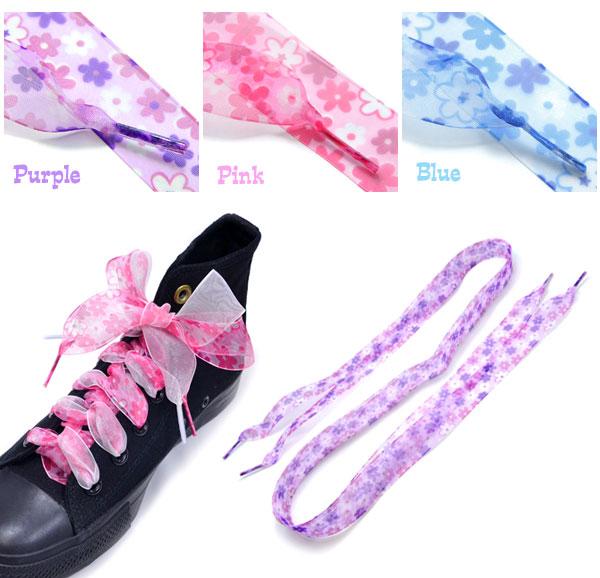 Floral print shoelaces shoes laces Ribbon   Cute shoes laces shoelaces Sneakers Shoes shoes Womens Hara-Juku series flowers flower summer birthday gift pariskids