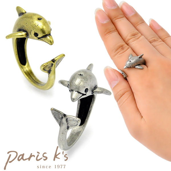 Dolphin ring ring animal animal with the antique collar roll