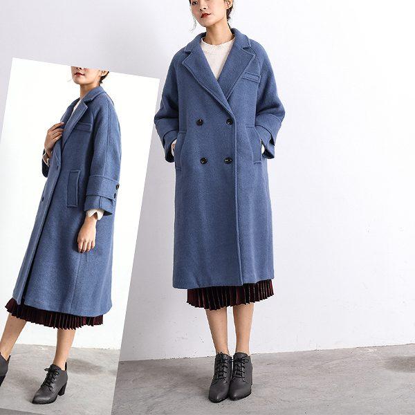 ダブルスタイルコート ロングコート ゆったり ストレート ブルー 大きいサイズ有り S〜XXXXL(4L) 送料無料