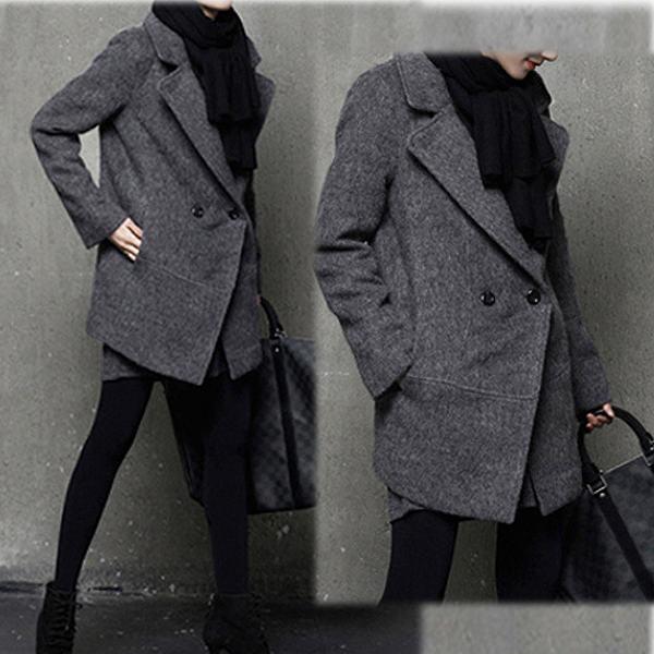 レディース 秋冬ジャケットコート ウールジャケット 長袖 ブラック グレー ゆったり 送料無料