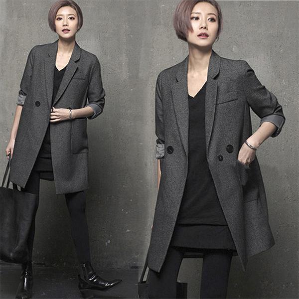 レディース 秋冬ジャケットコート ウール 長袖 ブラック グレー ゆったり 送料無料