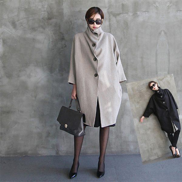 変形ロングコート 個性的 シングル ブラック ベージュ ウール モモンガスタイル 送料無料