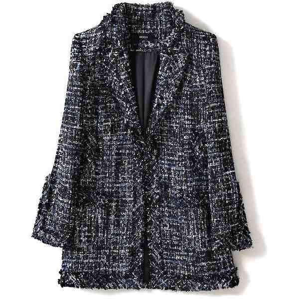 テーラードジャケット 上品ジャケット 入学式 入園式 ロングジャケット 襟付き ツイード エレガンス 送料無料