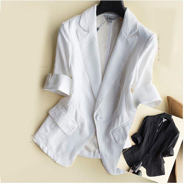 5部袖麻のジャケット ビジネスジャケット ブレザー サマージャケット リネン 上品 大人 ホワイト ブラック 大きいサイズ有り S M L XL XXL送料無料