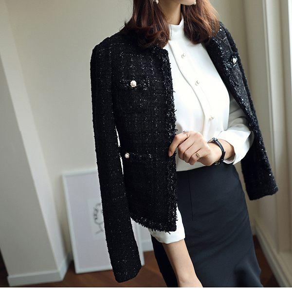 ノーカラージャケット ツイード ブラック 長袖 セレモニー 入学式 パーティー 送料無料 S M L XL