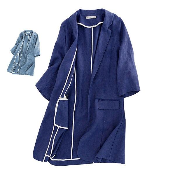サマーロングジャケット 麻 ジャケット 7部袖 ロングジャケット リネン 上品 大人 大きいサイズ有り S~XXXL 送料無料