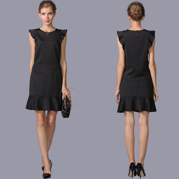 送料無料 フレンチスリーブ ブラック トップス&スカートセットアップ  ツーピース ブラウススカートセット大きいサイズ有