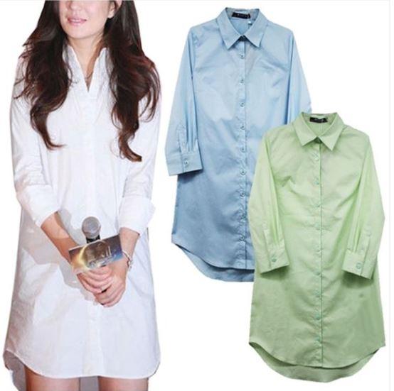 シャツワンピース ロングシャツ 定価 カラーシャツブルーグリーン 入手困難 7部袖ゆうパケット発送可