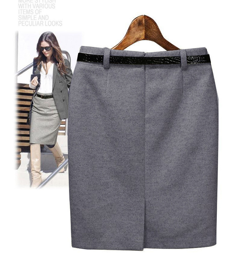 Belted OL's must-see / wool skirt / commuting / go out / large size/s-XXXL02P20Sep14