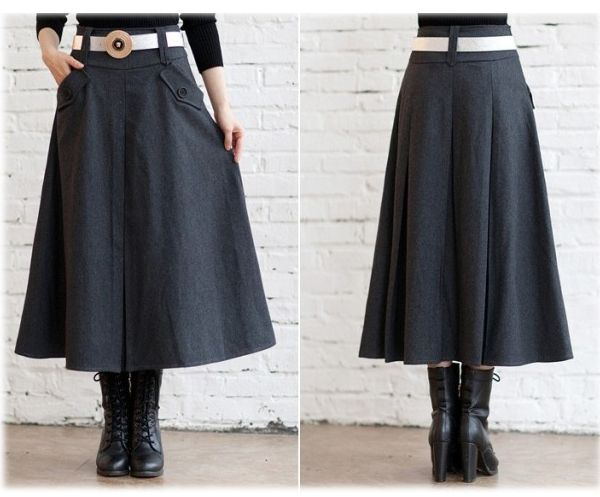 與秋/冬 / 長跳蚤裙子 / 成人黑色酒/灰色腰帶,裙子 / 大尺寸可用 02P05Oct15