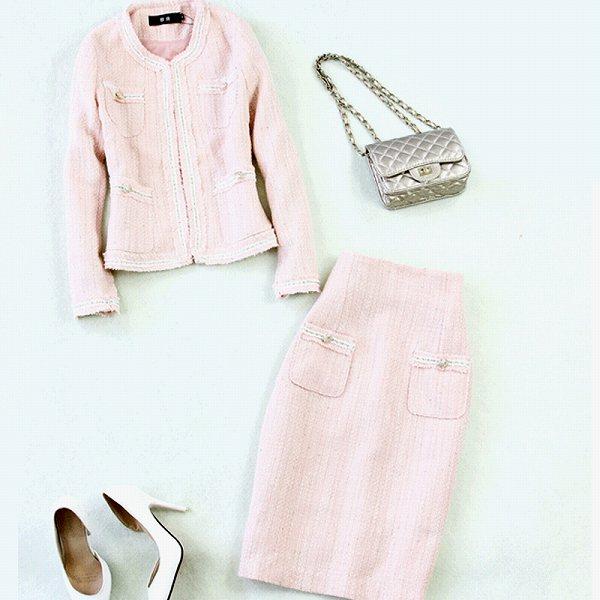 ノーカラージャケットスーツ ピンク セットアップ スーツ 膝下丈スカート 入学式 七五三 パーティー 上品 大人 送料無料 S M L XL