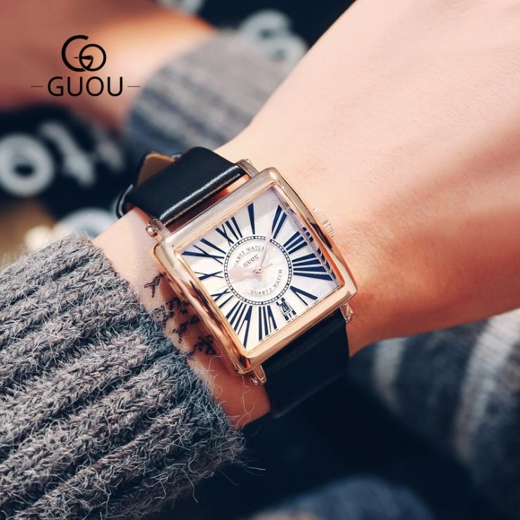 誕生日 記念日 プレゼント ギフト クリスマス GUOU 腕時計 メンズ レディース 男女兼用 アクセサリー 四角形 カレンダー8093 ゴールド ウォッチ おしゃれ 祝日 かわいい 限定タイムセール ユニセックス ブレスレット