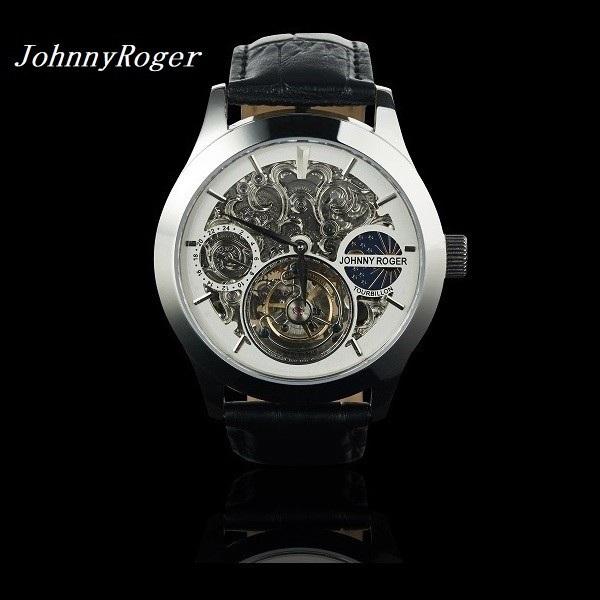 送料無料 3年間保証 レア 彫り 腕時計の最高峰 フライングトゥールビヨン JOHNNYROGER 本格 GMT 機械式 手巻き メンズ 腕時計 meister