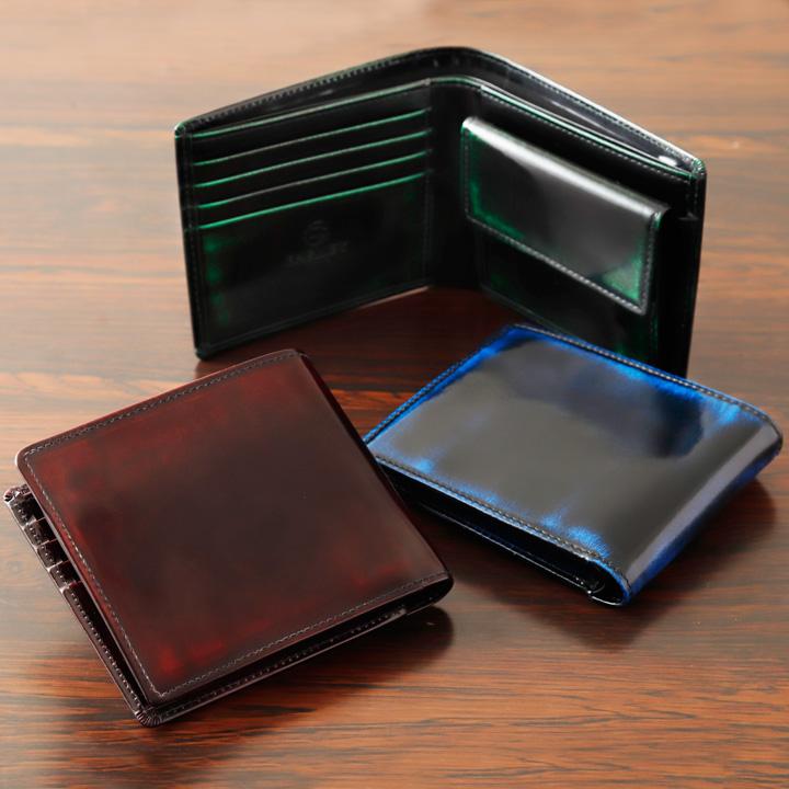 ◆PC-05PM 二つ折り財布プレミアム(小銭入れ付)名入れ加工可◆製品にしてから職人が手磨きでグラデーションを!革工房パーリィー直販 メイドインジャパン 財布 メンズ 革小物 カードケースサイフ 磨き革 小銭入れ