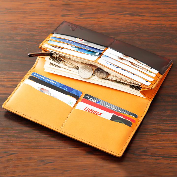 ◆長財布 名入れ加工可◆財布 長財布 長サイフ 革小物 メンズ カード 磨き革 メイドインジャパン 牛革 革工房 直販 ハンドメイド