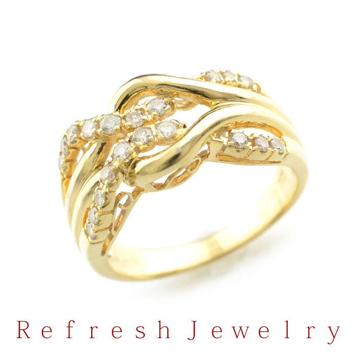 【リフレッシュジュエリー】K18 ダイヤモンド(0.35ct) 366【15号】【中古】【送料無料】【中古ジュエリー】【中古リング】【指輪】【リサイクルジュエリー】