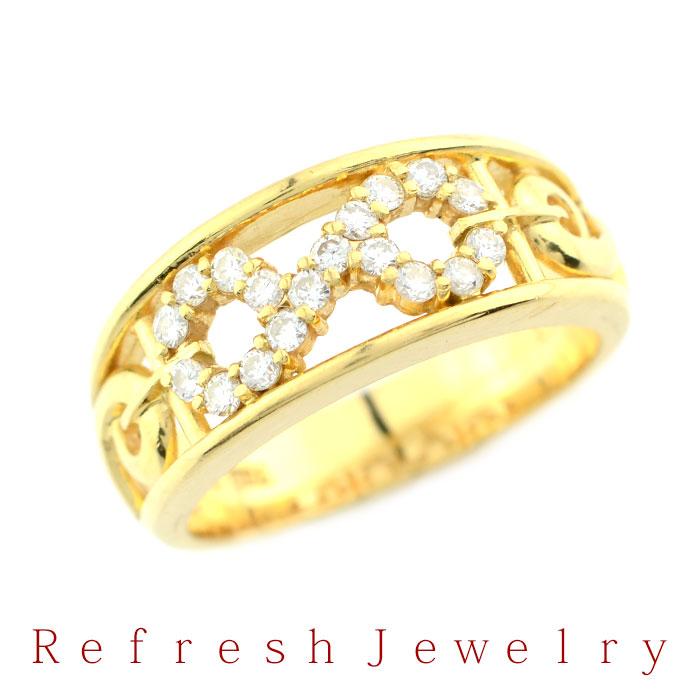 K18 ダイヤモンドリング 【10号】【指輪】【送料無料】529【リフレッシュジュエリー】【中古ジュエリー】【中古リング】【リサイクルジュエリー】