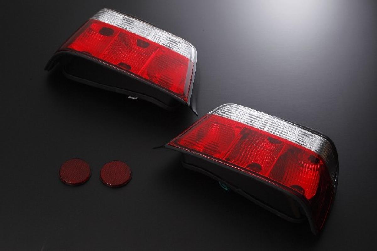 SONAR(ソナー) テールライト BMW 3シリーズ ベーシック テール ランプ クローム インナー レッド&クリスタル レンズ 91-98 BMW E36 3シリーズ 4ドア