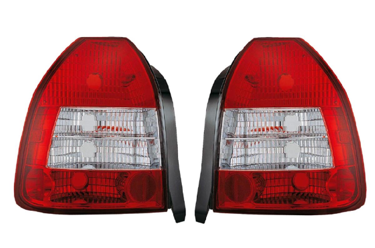 SONAR(ソナー) テールライト ホンダ シビック ベーシック テール ランプ クローム インナー レッド&クリスタル レンズ EK シビック 3ドア