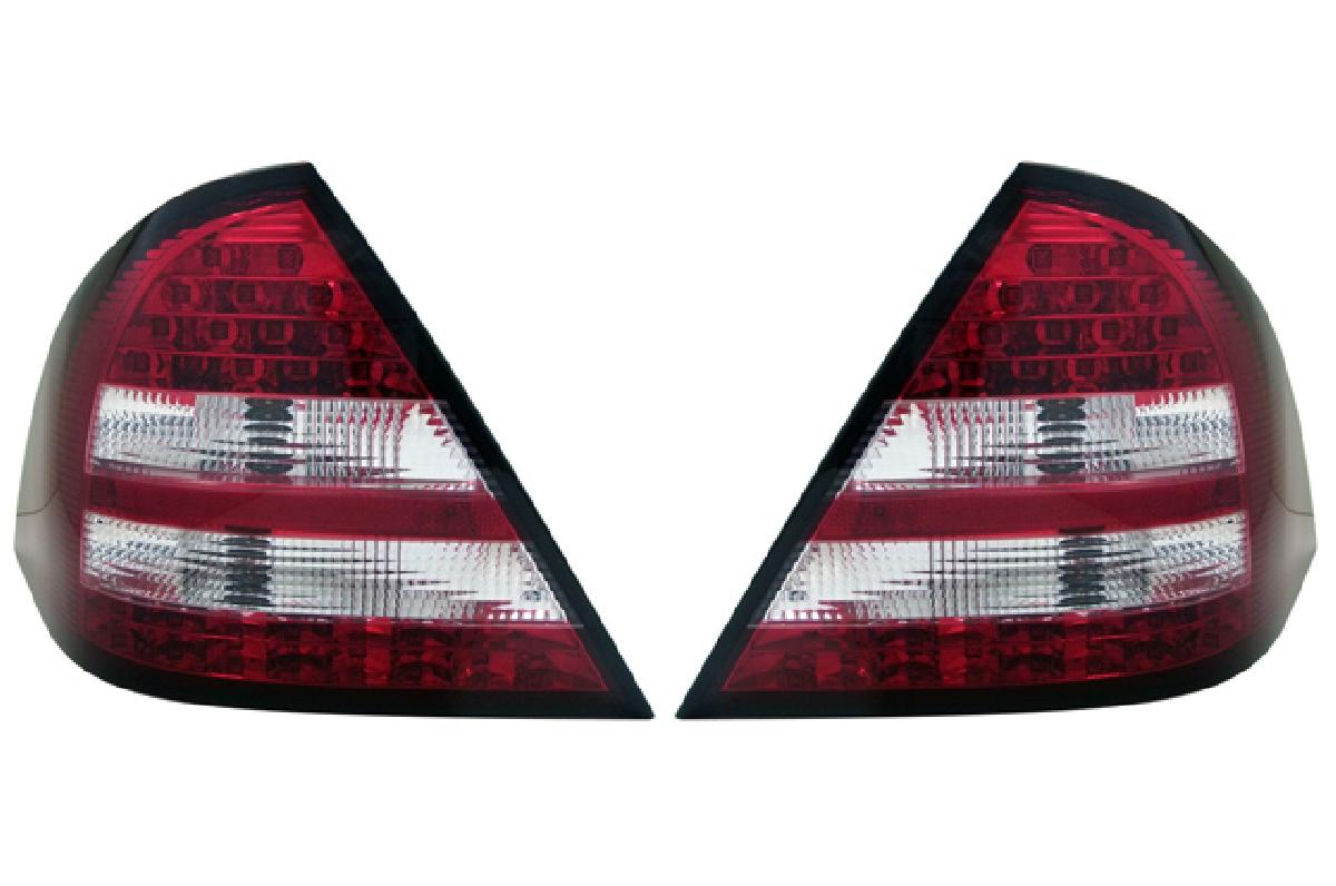 SONAR(ソナー) テールライト メルセデス・ベンツ Cクラス LED テール ランプ クローム インナー レッド&クリスタル レンズ 01-04 W203 Cクラスセダン