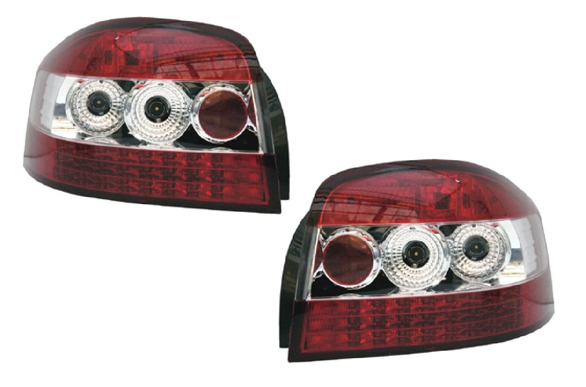SONAR(ソナー) テールライト アウディ A3 LED テール ランプ クローム インナー レッド&クリスタル レンズ 04-UP アウディ A3 (8P)