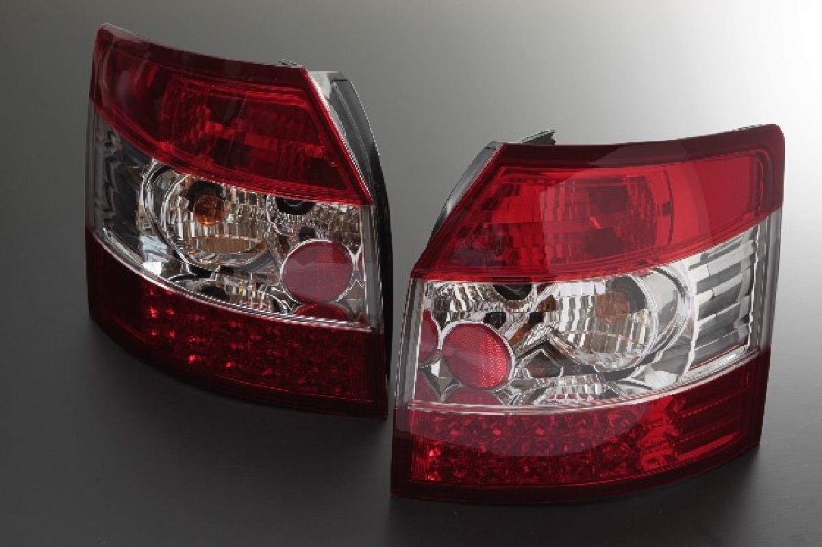 A4 レッド&クリスタル LED アウディ 01-04 ワゴン A4 SONAR(ソナー) ランプ アウディ クローム レンズ テール テールライト インナー