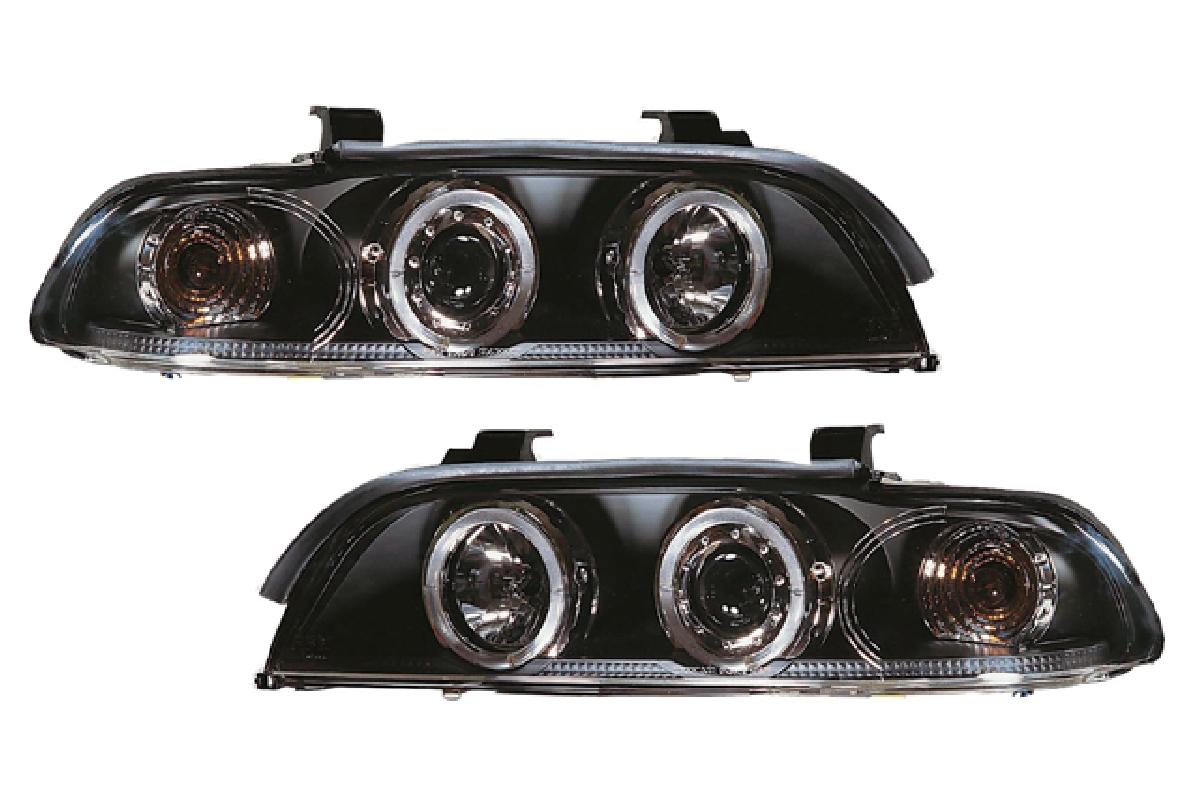 SONAR(ソナー) ヘッドライト BMW 5シリーズ エンジェルアイ プロジェクター ヘッドライト ブラック インナー 96-02 BMW E39 5シリーズ