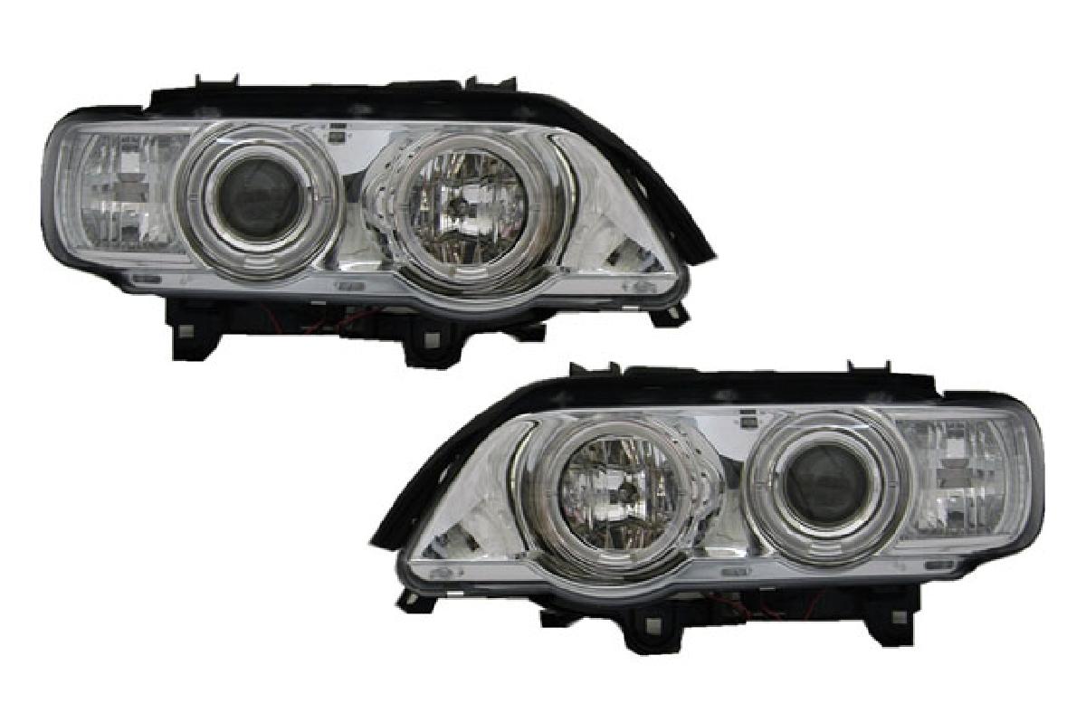 BMW ヘッドライト インナー 自動光軸調整機能(オートレベライザー)対応 X5 SONAR(ソナー) クローム レベ付 00-03 ヘッドライト プロジェクター BMW X5 エンジェルアイ