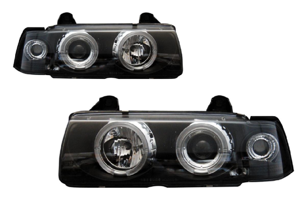 BMW ヘッドライト プロジェクター インナー E36 ヘッドライト 2ドア 91-98 エンジェルアイ 3シリーズ 3シリーズ BMW ブラック SONAR(ソナー)