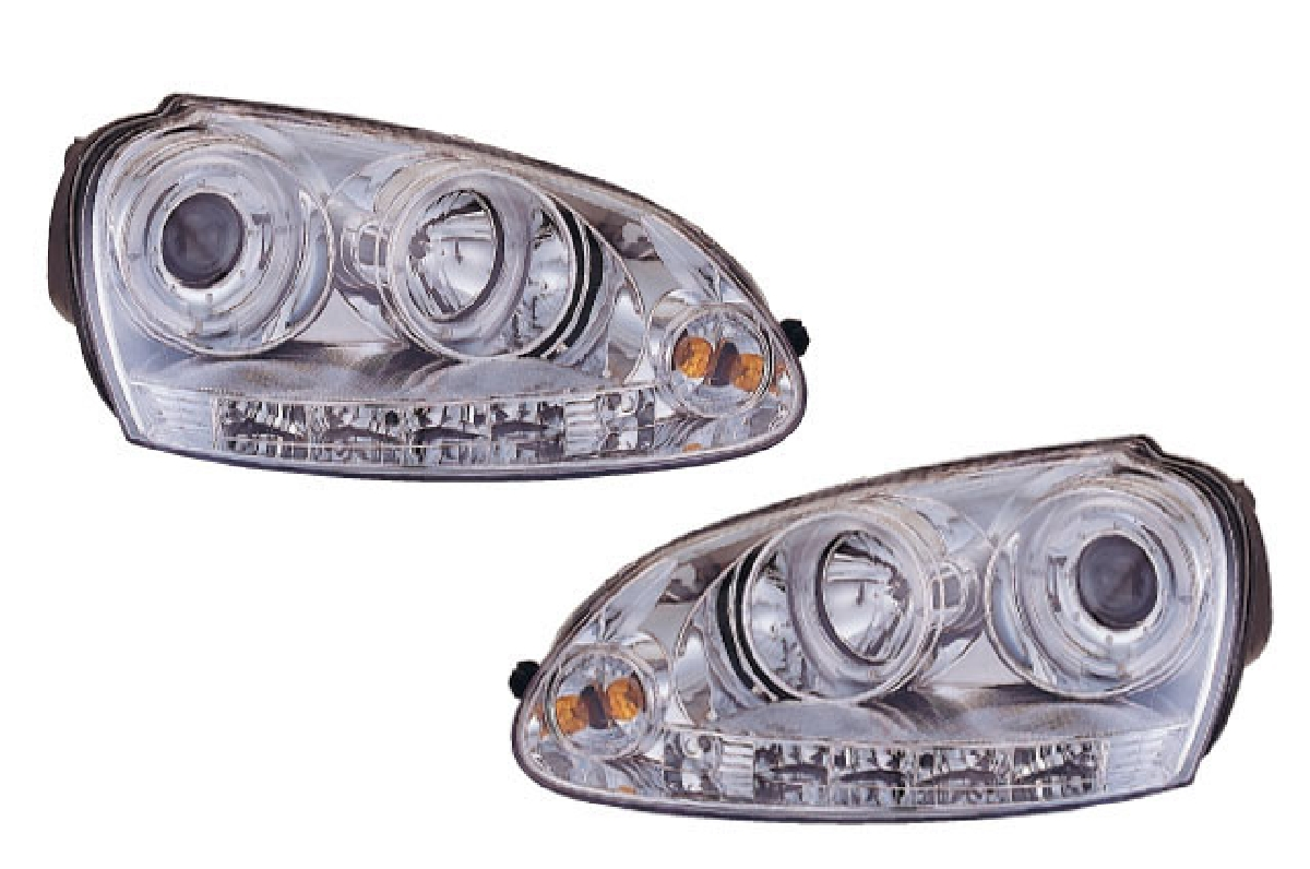 SONAR(ソナー) ヘッドライト フォルクスワーゲン ゴルフ エンジェルアイ プロジェクター ヘッドライト クローム インナー 04-08 VW ゴルフ5/ジェッタ5 レベ無