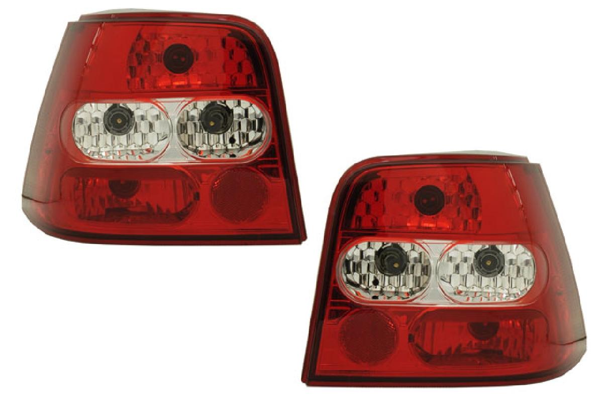 SONAR(ソナー) テールライト フォルクスワーゲン ゴルフ ベーシック テール ランプ クローム インナー レッド&クリスタル レンズ 98-02 VW ゴルフ4