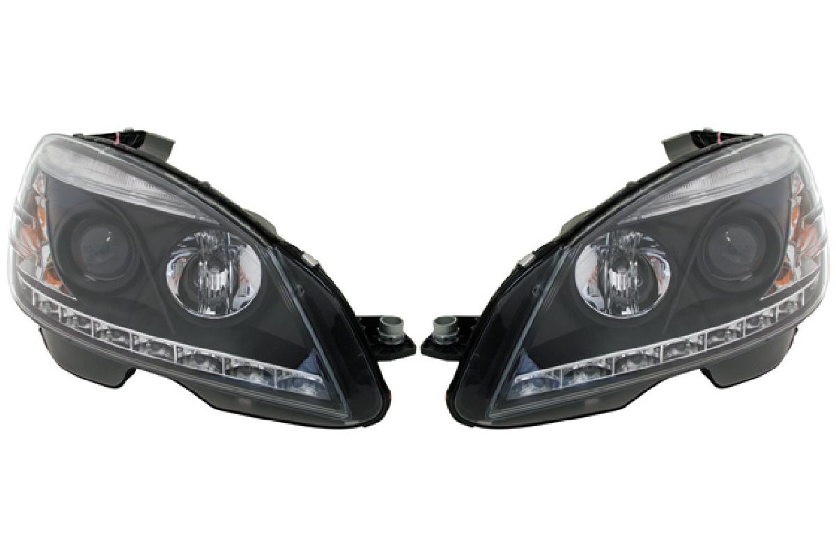 SONAR(ソナー) ヘッドライト メルセデス・ベンツ CLクラス DRLスタイル プロジェクター ヘッドライト ブラック インナー 自動光軸調整機能(オートレベライザー)対応 07-10 W204 Cクラス レベ付