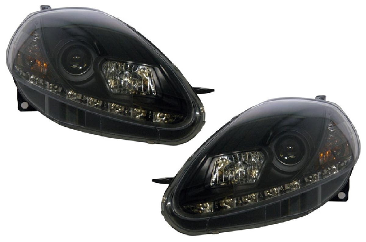 SONAR(ソナー) ヘッドライト フィアット グランデプント DRLスタイル プロジェクター ヘッドライト ブラック インナー 自動光軸調整機能(オートレベライザー)対応 05-07 フィアットグランデプント レベ付