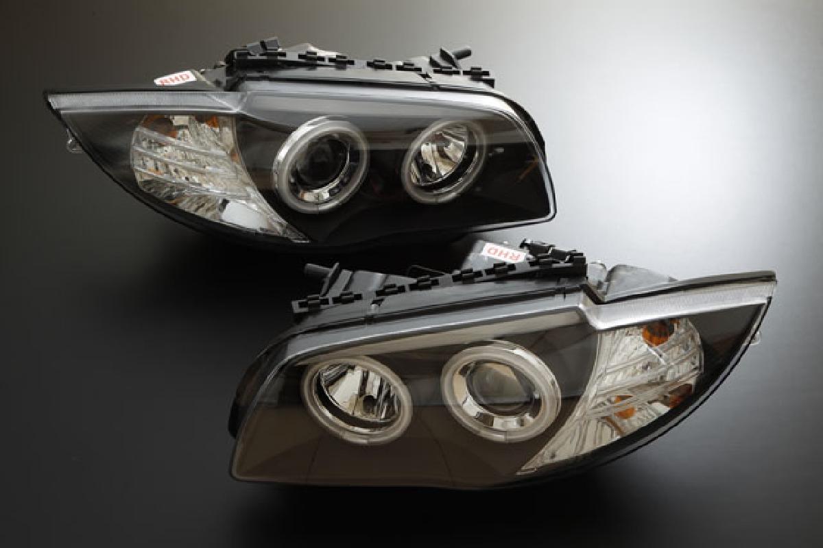 SONAR(ソナー) ヘッドライト BMW 1シリーズ エンジェルアイ プロジェクター ヘッドライト ブラック インナー CCFLリング採用 04-UP BMW E87 1シリーズ