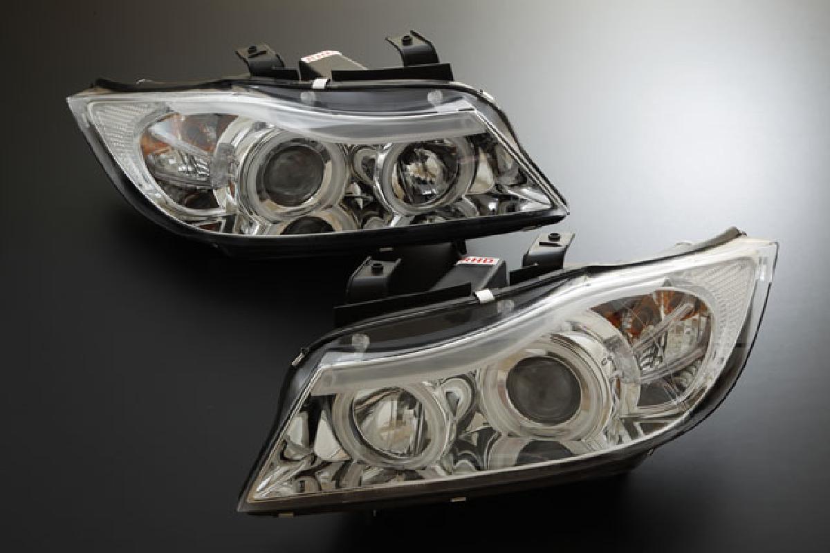 BMW SONAR(ソナー) エンジェルアイ 3シリーズ ヘッドライト プロジェクター 05-08 E90/91 インナー CCFLリング採用 3シリーズ BMW ヘッドライト クローム