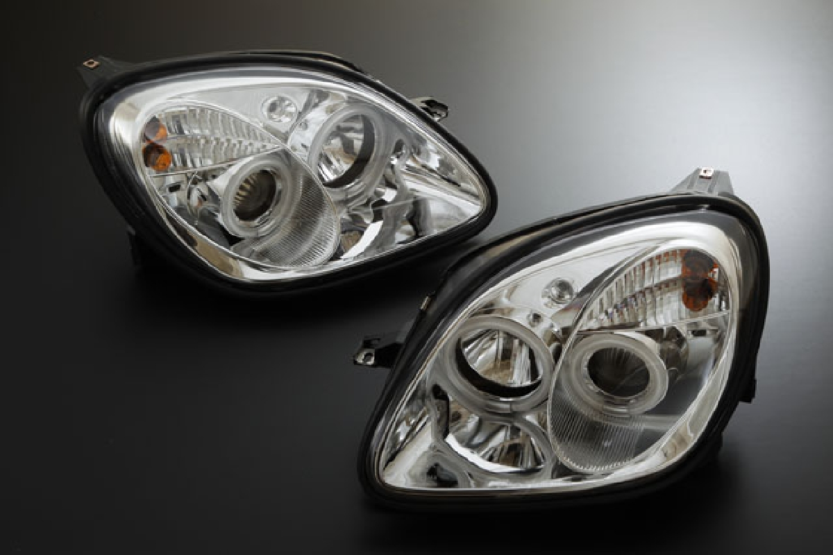 SONAR(ソナー) ヘッドライト メルセデス・ベンツ SLKクラス エンジェルアイ プロジェクター ヘッドライト クローム インナー CCFLリング採用 96-02 Mベンツ R170 SLK