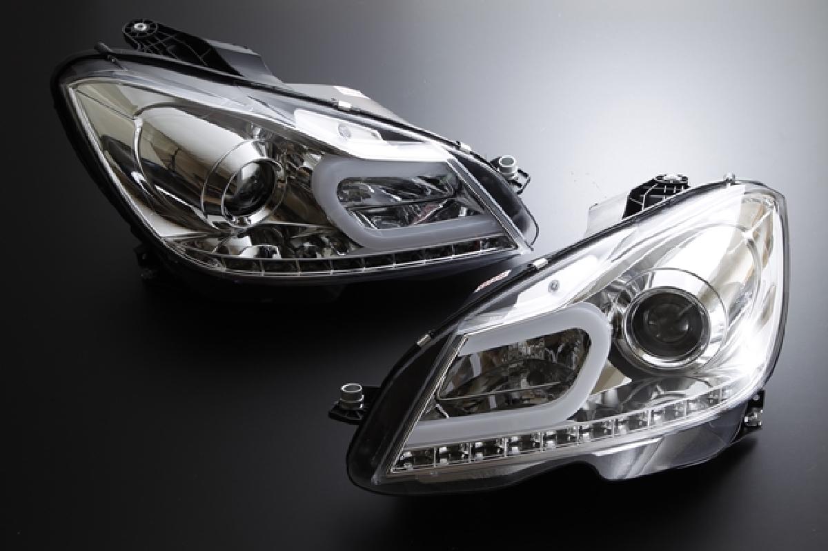 SONAR(ソナー) ヘッドライト メルセデス・ベンツ CLクラス DRLスタイル プロジェクター ヘッドライト クローム インナー HID車専用設計 ベンツW204 後期