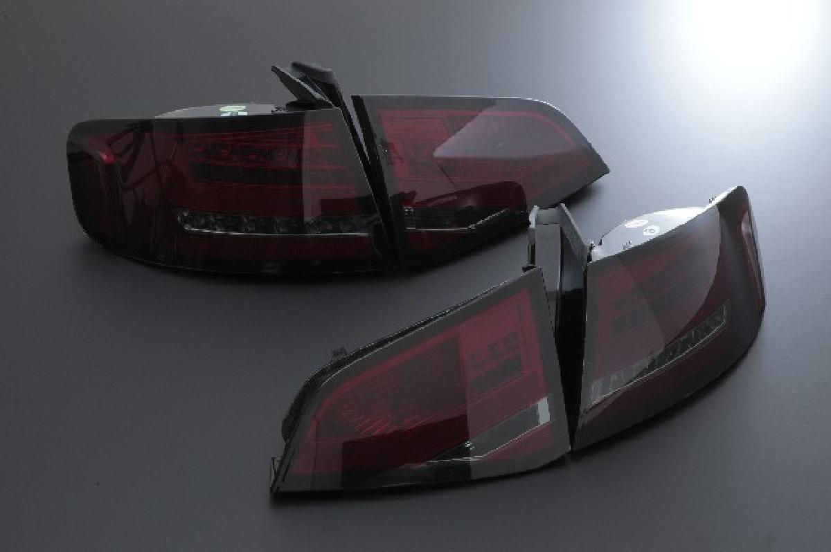 SONAR(ソナー) テールライト アウディ A4 LED ライトバー テール レンズ レッド&スモーク 08-12 AUDI A4 セダン B8系