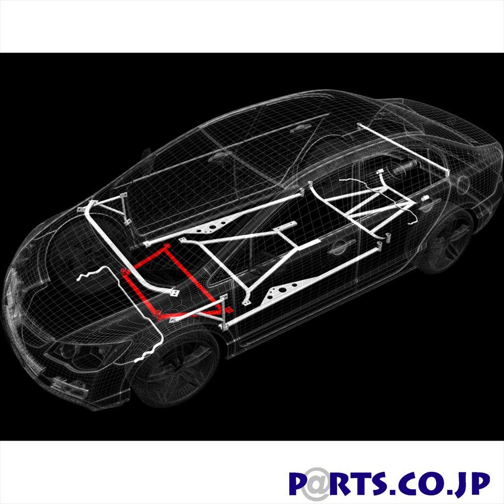 フロントメンバーブレース トヨタ ヴィッツ NCP95 ウルトラレーシング ボディ 補強 剛性パーツ LA4-404 【メーカー保証付】車 ボディ 補強