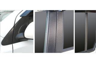 ダイハツ ブーン マジカルカーボン ピラーセット スタンダード バイザーカットタイプ レッド M300S系 ブーン(2004/6~2010/1)