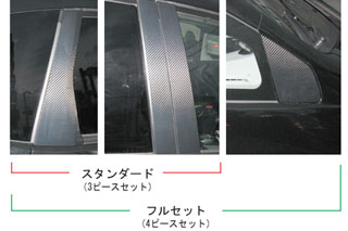 ホンダ フィット マジカルカーボン ピラーセット ブラック GE6~9 フィット(2007/10~2010/9)