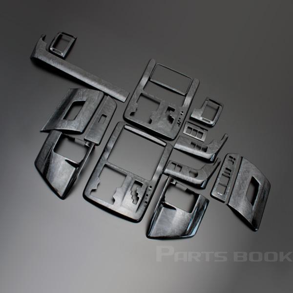 ノア・ヴォクシー(ZRR70/75系) 3D インテリアパネル 16ピース/16P[黒木目] インテリアウッドパネル/内装/インパネ