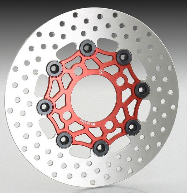 キタコ グロム/PCX・PCX150/SHモード/ズーマーX用 フローティングディスクローター[レッド/ブラック] 500-1432720